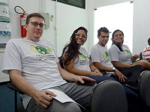 Organizadores do evento, durante as palestras.